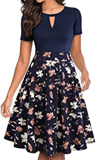 Women's Vintage Floral Flared A-Line Swing Casual Party Dresses with Pockets