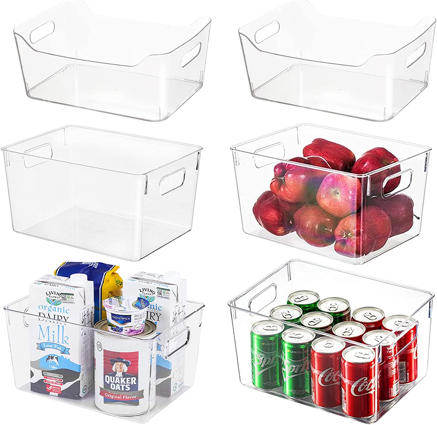 Set Ranking TOP15 of 6 Clear Plastic Organizer Storage Perfect Bins Kitchen O Limited Special Price