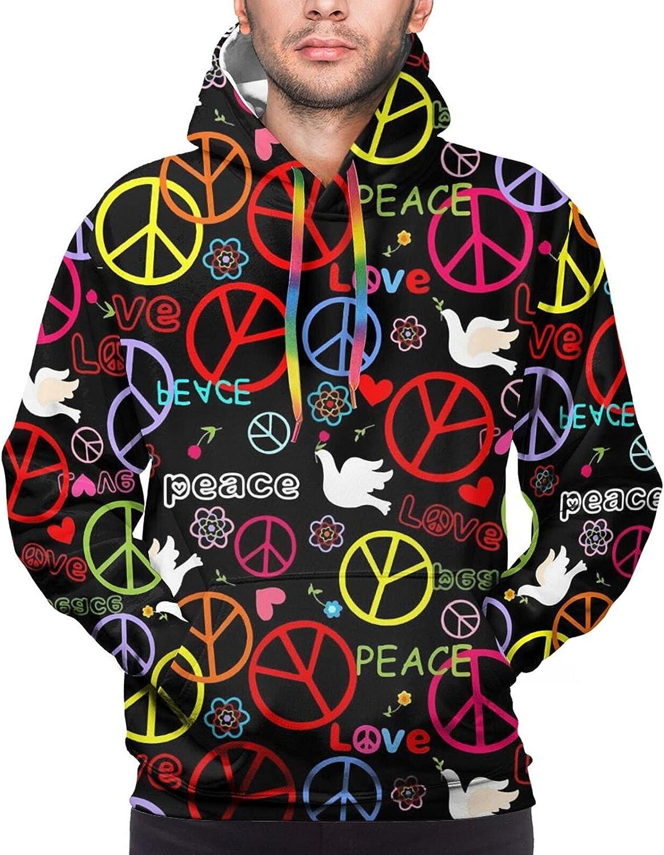 Hoodie For Teens Boys Girls Hippie Peace Symbol Hoodies Pullover Sweatshirt Pockets