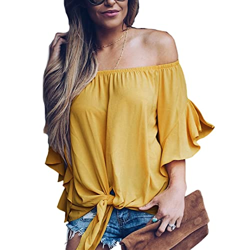 4f635fdb820b FARYSAYS Women s Striped 3 4 Bell Sleeve Off The Shoulder Front Tie Knot T  Shirt