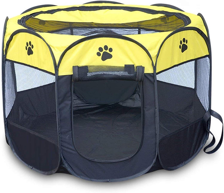 CXI Octagonal pet Fence, Dog House Portable Folding Pet Tent Playpen Puppy Easy Operation Octagonal Fence Outdoor Pet Supplies,Removable Folding Octagonal pet Fence, LSCW3 (Yellow)