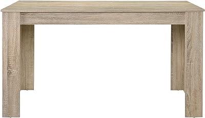 [en.casa] Table de Salle à Manger Nora Chêne Robuste Brun Clair 140 x 90cm