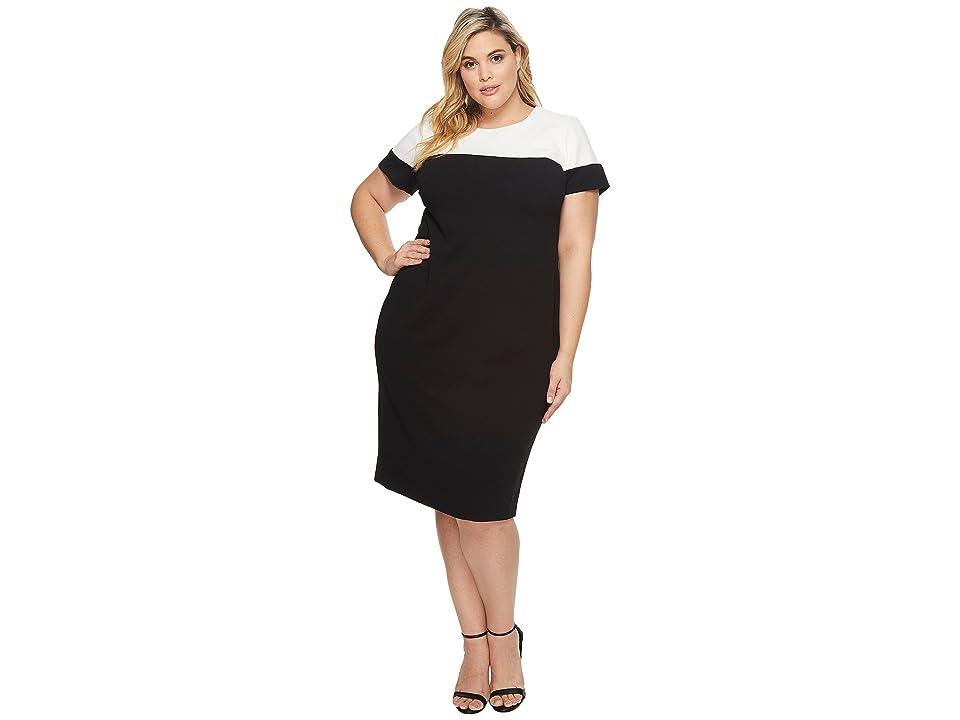 Adrianna Papell Plus Size Stretch Crepe Sheath (Black/Ivory) Women