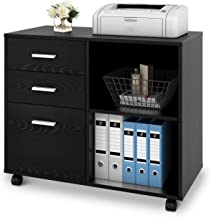 DEVAISE 3-Drawer Wood File Cabinet, Mobile Lateral Filing Cabinet, Printer Stand with..