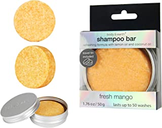 BODY & EARTH Solid Shampoo Bar, Hair Soap Conditioner with Travel Tin Containers - Enriched with Natural Essential Oils Benefit for Dry, Oily and Damaged Hair, Mango Scent, 1.76 Oz
