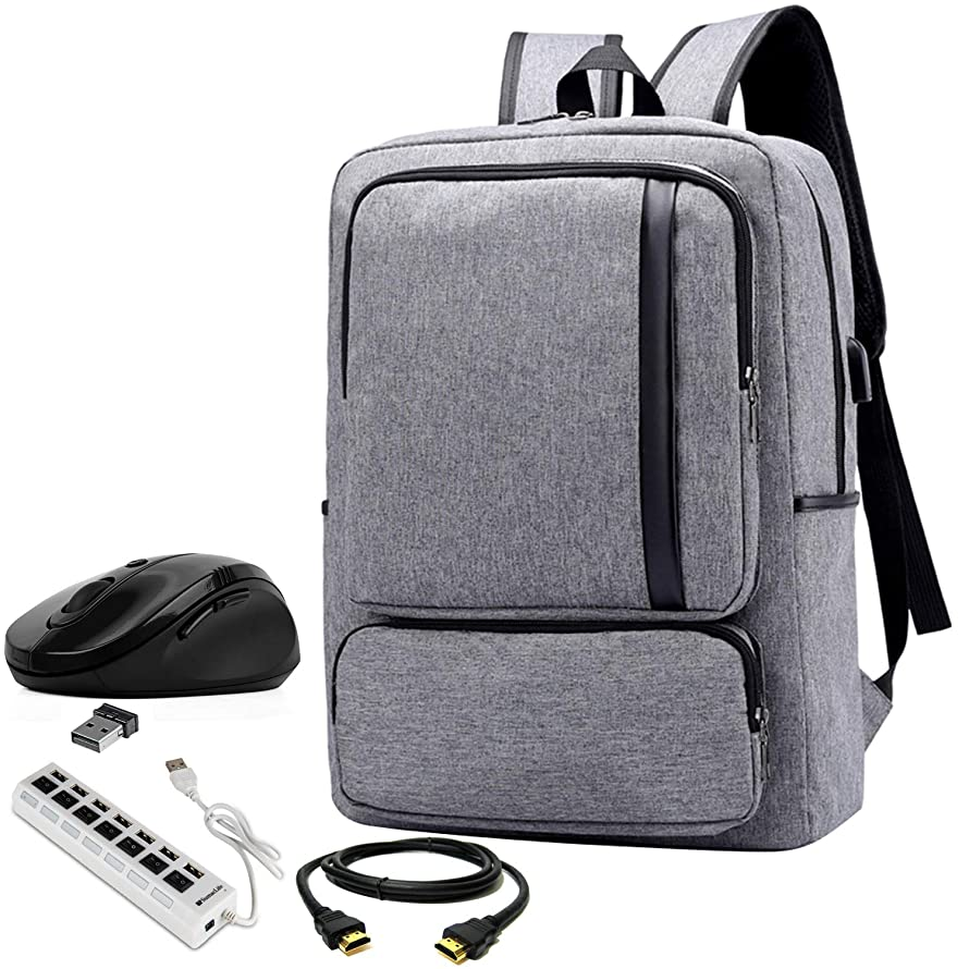 VG Bags Cero Grey 15.6-inch Slim Laptop Backpack with USB Hub, Mouse, and HDMI Cable for Asus ChromeBook, Q Series, ROG, Zephyrus, TUF, VivoBook, AsusPro, ZenBook 14