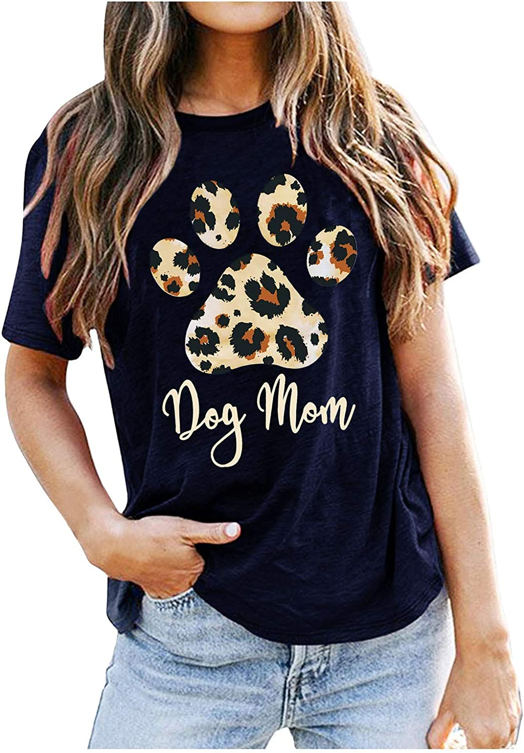 T-Shirt for Women Fashion Casual Leopard High material Print Choice Dog Letters