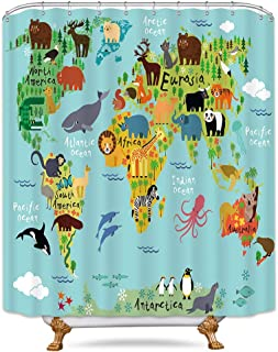 Riyidecor Kids Animal Map Shower Curtain Geography World Educational Children Forest Ocean Blue Colorful Decor Fabric Set Polyester Waterproof Fabric 72x72 Inch with 12 Pack Plastic Hooks