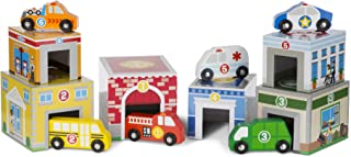 Melissa & Doug Nesting and Sorting Blocks (6 Buildings, 6 Wooden Vehicles, Great Gift for Girls and Boys - Best for 3, 4, 5 Year Olds and Up)