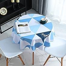 Wondder Nappe en coton et lin avec pompons en dentelle pour nappe de table de fête, banquet, table de salle à manger, rond...