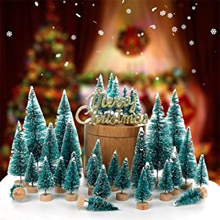 Orgrimmar 24 PCS Mini Christmas Trees Artificial Sisal Trees Snow Frost Ornaments Bottle Brush Trees with Wooden Bases for Christmas Home Party Decoration, 6 Sizes