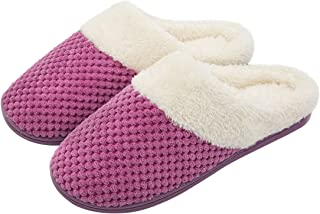 Women's Comfort Coral Fleece Memory Foam Slippers Fuzzy Plush Lining Slip-on Clog House Shoes for Indoor & Outdoor Use