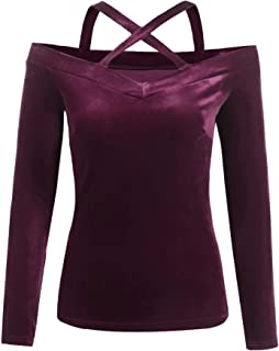 Womens Velvet Off The Shoulder Tops Long Sleeve V Neck Sexy Blouse Shirts