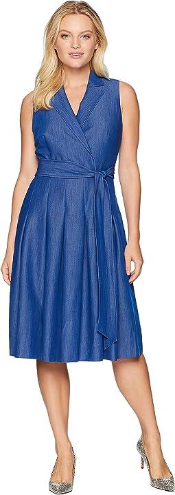 Notch Collar Wrap Dress