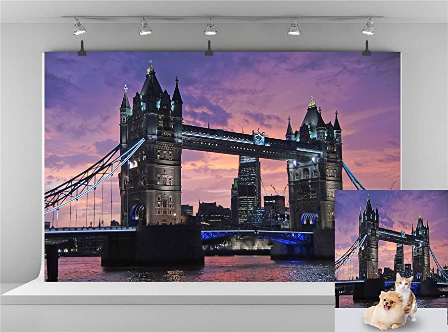 Pink London Tower Bridge Photography Background European Landmark Backdrop Beautiful Sunset Backdrop 7x5ft Vinyl Thames River Lake View Modern Holiday Tour Photo Booth Backdrop E00T9017