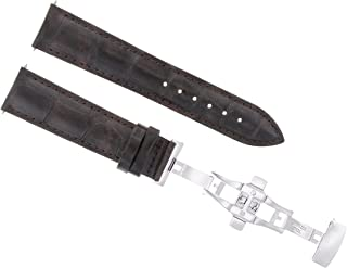 20MM LEATHER WATCH BAND STRAP FOR ROLEX DATE, DATEJUST GMT II WATCH DARK BROWN