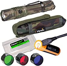 EdisonBright Fenix PD35 TAC CAMO 1000 Lumen CREE LED tactical flashlight, USB rechargeable battery, holster, RED, GREEN, Blue filters battery case bundle for hunting