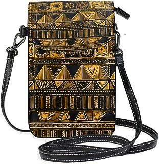 ZZKKO Indische mexikanische Geometrische Azteken-Mini-Umhängetasche, Handtasche, Handtasche, Ledertasche, für Damen, lässi...
