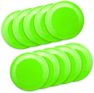 Frisbee Flying Discs - 10 pack - 9.25 in. Ultimate Frisbee Beach Sports Backyard Disc Golf Game - Neon Green