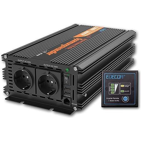 Edecoa Wechselrichter 1500w Spannungswandler 24v 230v Reiner Sinus Mit Fernbedienung Und 2x Usb Wechselrichter 1500w Und 3000w Peak Auto