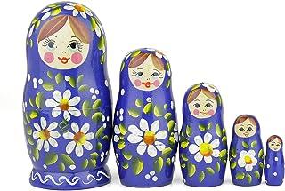 Muñecas Rusas, 5 Matrioskas de Estilo Romashka | Muñeca Babushka de Madera, Azul con Diseño Floral Blanco, Hecha a Mano en Rusia | 5 Piezas, Romashka, 14 cm
