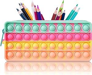 Fidget Pencil Case Pop Bubble Silicon Pencil Box Silicon Popper Bag Sensory Fidget Toy Pen Bag Office Stationery Organizer Stationery Storage Bag Decompression Toy
