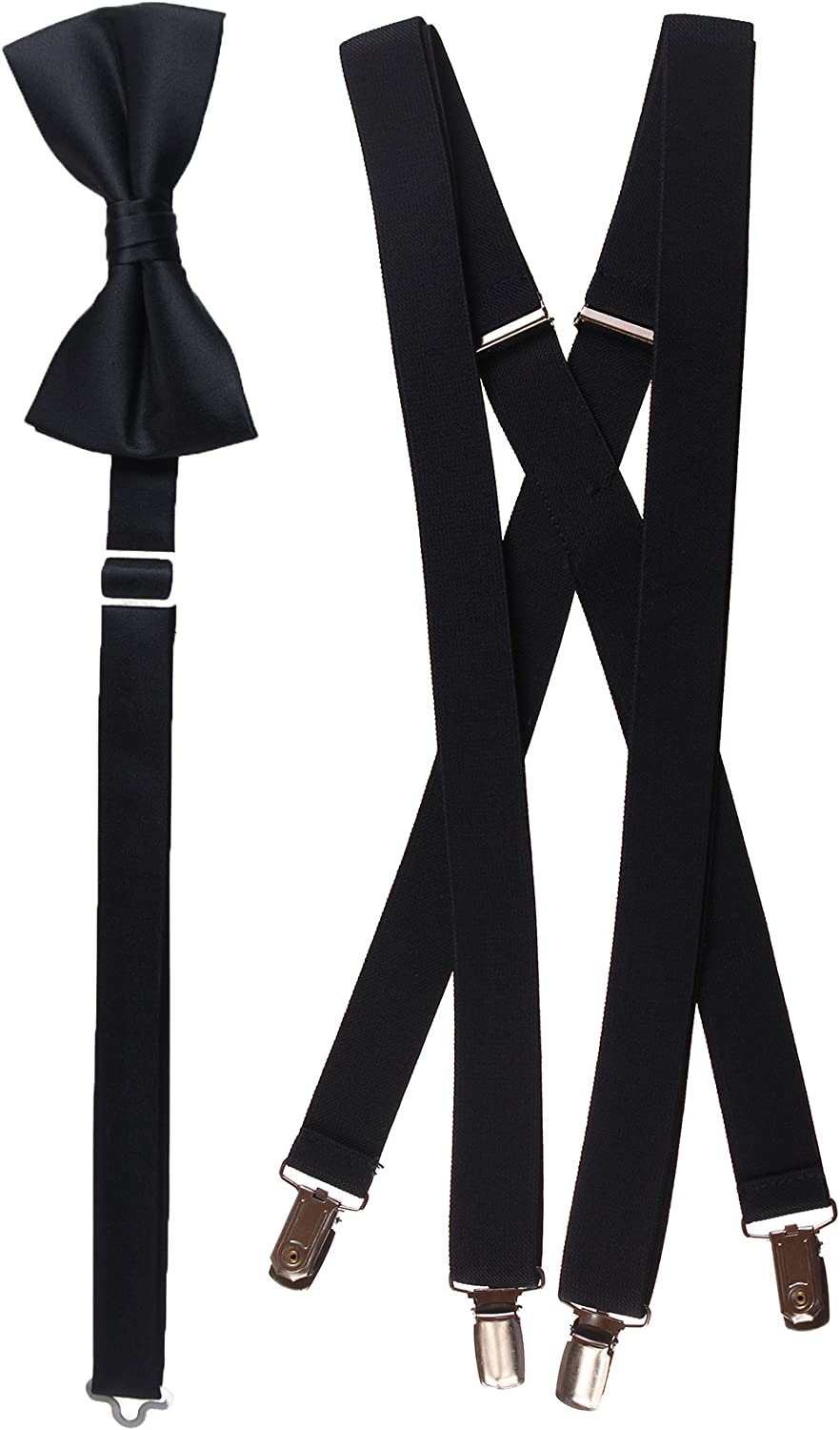 Tuxgear Mens Matching Black Adjustable Suspender and Bow Tie Sets, Kids to Adults Sizing