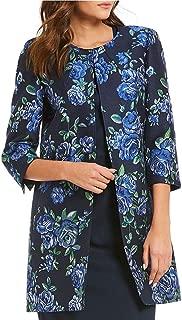 Preston & York Women Caitlin Floral Print Topper Jacket, Navy Meadow Green, Size 10