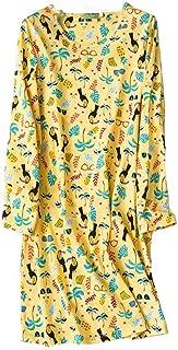Women's Cotton Sleepwear Long Sleeves Nightgown Print Tee Sleep Dress