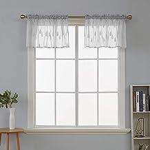 ستائر نافذة قصيرة من ديكونوفو مصنوعة من القطن الصناعي مع قطرة المطر من قماش الجاكار، مقاس 132 سم × 45 سم، لون رمادي