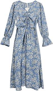 Spring Floral V-Neck Slim Chiffon Skirt Waist Drawstring Long Dress High Quality (Color : Blue)