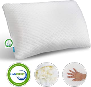 ONIREACO Memory Foam Pillow for Sleeping - Bamboo Cooling Sleep Pillow Neck Support for Back,Stomach,Side Sleeper - Premium Washable Cover Adjustable Height for Good Sleeping(Queen Size)
