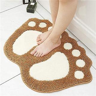 Non Slip Bath Mat Big Feet Bathroom Shower Rugs Shaggy Carpet Absorbent Doormat Floor Mat (40 * 60CM) (brown)