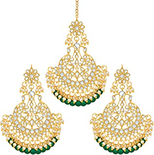Aheli Indian Wedding Kundan Pearl Maang Tikka with Earring Set Bollywood Party Traditional Jewelry for Women Girls