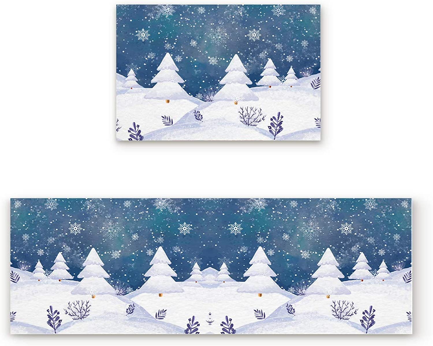 2 Piece Non-Slip Kitchen Mat Rubber Backing Doormat Runner Rug Set, Kids Area Rug Carpet Bedroom Rug Snowflake Snow Cover Pine Trees Winter Theme Christmas Cold Weather Season 19.7x31.5in+19.7x63in
