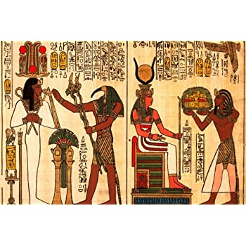 10x6.5ft Ancient Egyptian Gods Anubis and Horus Parchment Backdrop Grunge Wall Fresco Egypt Papyrus Hieroglyph History Culture Background for Photos Travel Photo Studio