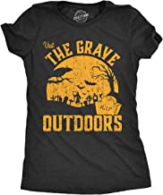 Womens Visit The Grave Outdoors Tshirt Funny Halloween Cemetary Tee for Ladies