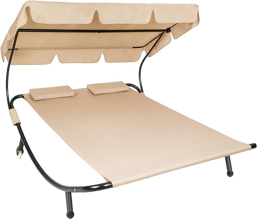 Tectake lettino prendisole da giardino per 2 persone con 2 cuscini struttura in metallo robusto e tela 800089BEIGE
