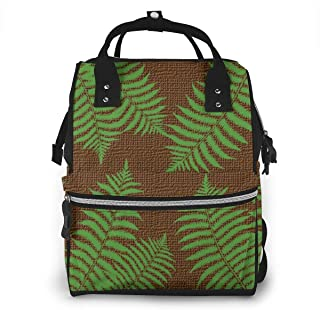 Green Palm Leaves On Brown Burlap Diaper Bag Backpack Nappy Bag Baby Travel Bags Maternity Diaper Bag for Mom,Dad