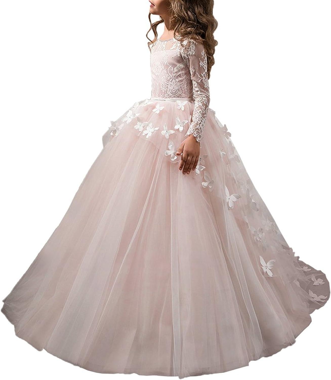 Abaowedding Flower Girls' Dress for Wedding Butterflies Long Sleeve Princess Dress