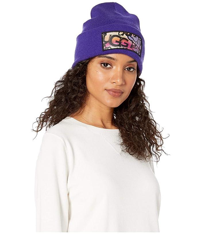 UGG  Graffiti Patch Cuff Hat (Violet Bloom) Beanies