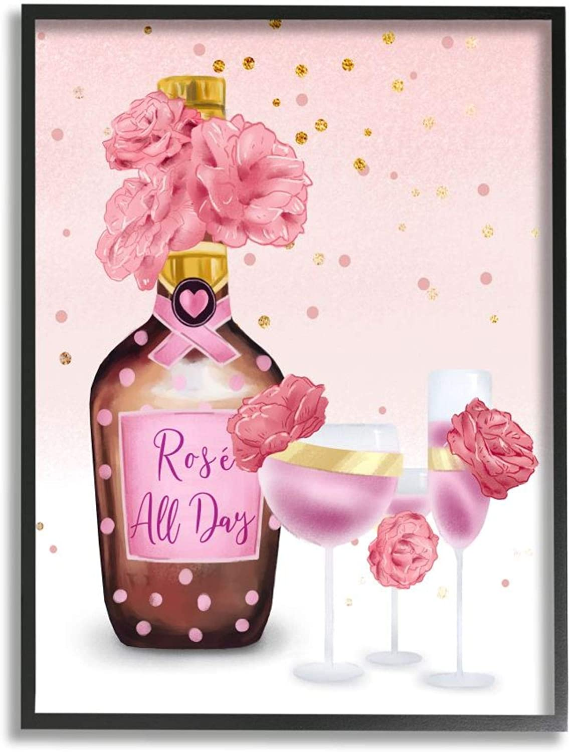 Stupell Courier shipping free Industries Rosé All Day Quote Dot Detail Import Polka Pink with