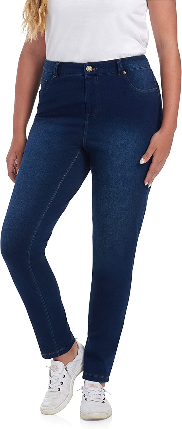 Cupio Blue Plus Size Stylish and Comfortable Stretchy Pull On Knit Denim Leggings with Functional Back Pockets