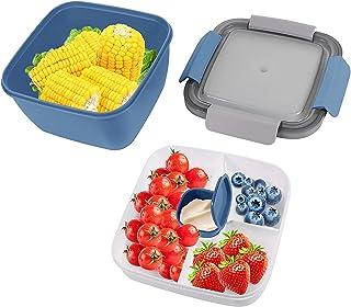 Boite Bento Lunch Box Enfant, Lunch Box, Boîte à Déjeuner, Bento Box, Boite Bento, Hermétique Boîte à Repas avec 3 Compart...