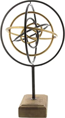 """Deco 79 84241 Iron and Wood Atom Sculpture, 19"""" x 10"""", Black/Brown/Gold"""
