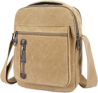 Sports Outdoor Black Messenger Shoulder Bag, Men and Ms Canvas Wear Resistant Crossbody Sling Bag Fashion Leisure for Work, School, Traveling and Daily Use (Size: 27 * 9 * 20CM) (Color : Khaki)