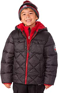 Snozu Boys Charcoal and Red Puffer Jacket with Knitted Hat, 18 Months