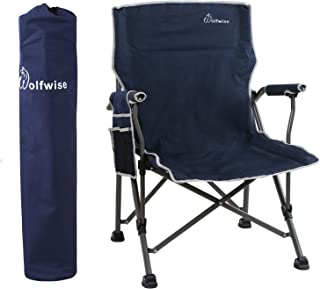 WolfWise 350lbs Portable Folding Arm Camping Chair Heavy Duty with Carry Bag Navy
