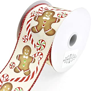Homeford Holiday Gingerbread Man Wired Edge Linen Christmas Ribbon, Ivory, 2-1/2-Inch, 10-Yard