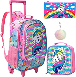 3PCS Rolling Backpack for Girls, Wheeled Unicorn Bookbag with Lunch Box Pencil Box